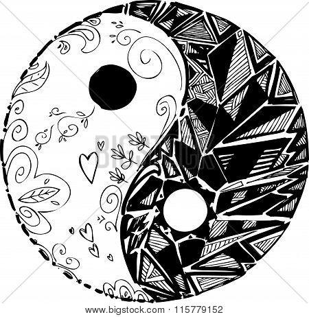 Sketched doodles: yin yang symbol. Digital vector illustration. poster