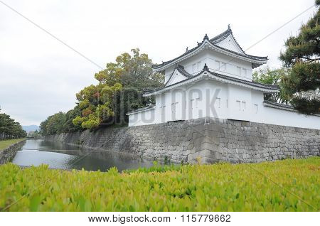 Wall of Nijo castle and clear ditch