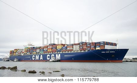 Cargo Ship CMA CGM NORMA at the Port of Oakland