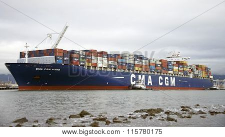 Cargo Ship CMA CGM NORMA departing the Port of Oakland