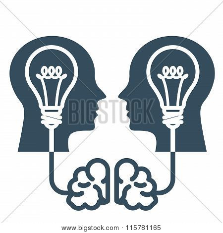 Intellectual Property And Ideas - Head With Light Bulb And Brain