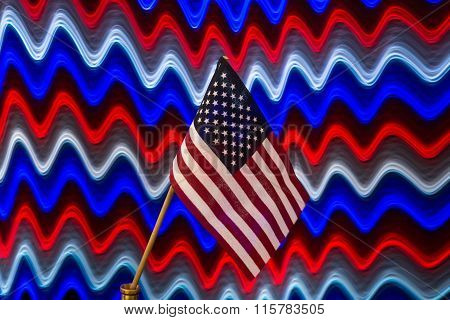 American Flag with red,white,blue background