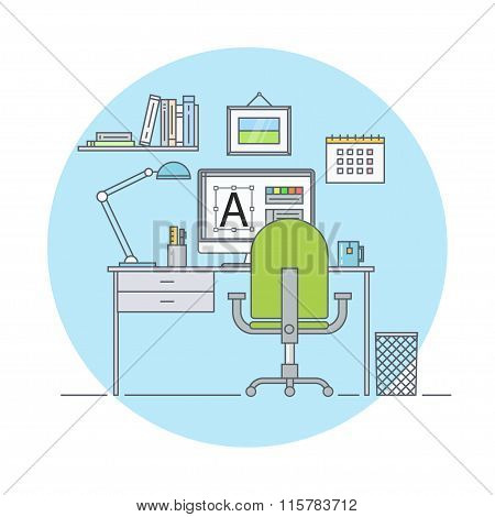 Workplace designer flat linear style. Workplace at modern office. Home workplace. Graphic artist work place. Workplace in the interior of the room a web designer. Creative office interior. poster