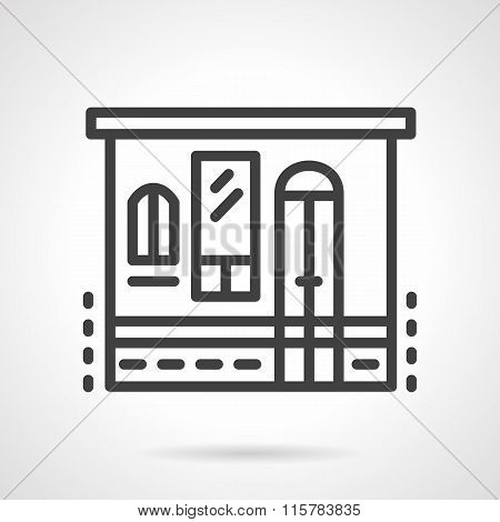 Storefronts simple line vector icon. Grocery