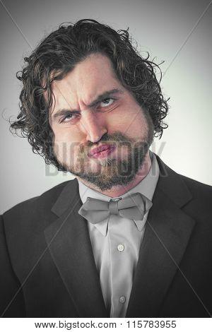 Bearded Man Holding Breath