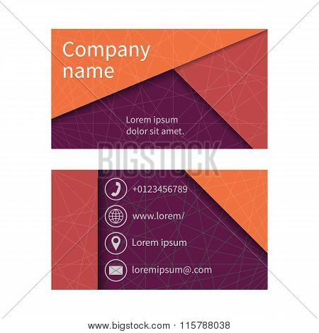 Business Card With Abstract Background Of Lines.