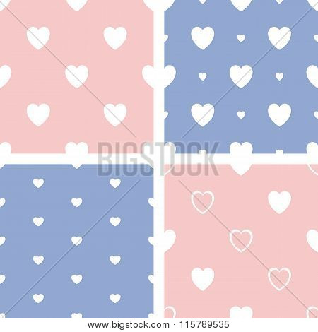 Set of four hearts pattern