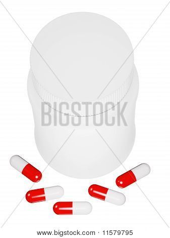 Capsule Pills And White Plastic Bottle.