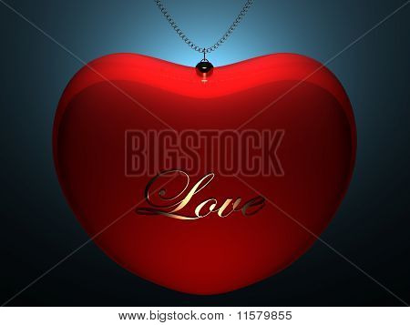 Red Glossy Heart Pendent With Gold Inscription Love On Blue Back