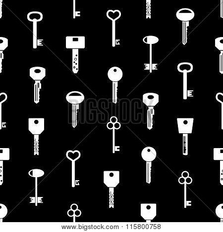 Various Keys Symbols For Open A Lock Black Seamless Pattern Eps10