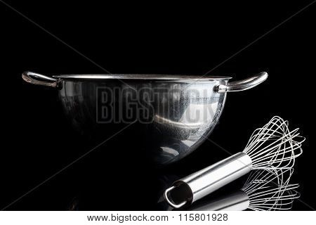 Steel bowl with whisker from side with reflection black