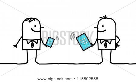 cartoon businessmen connected with digital  tablet and phone