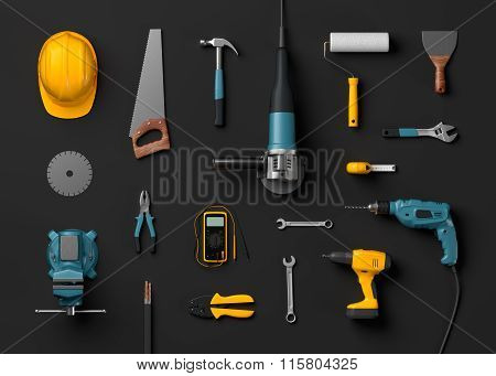 helmet, drill and construction tools