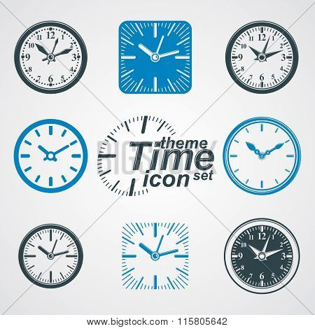 Simple Vector Wall Clocks With Stylized Clockwise. Business Time Idea Classic Graphic Symbols Collec