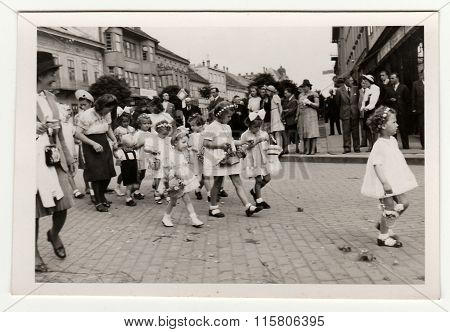 Vintage photo shows religious (catholic) celebration.