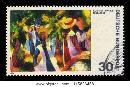 Girls In The Forest, Painting By August Macke