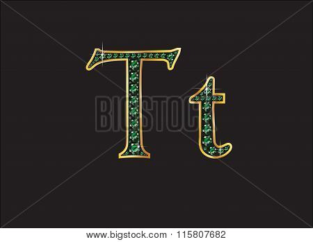 Tt In Emerald Jeweled Font With Gold Channels