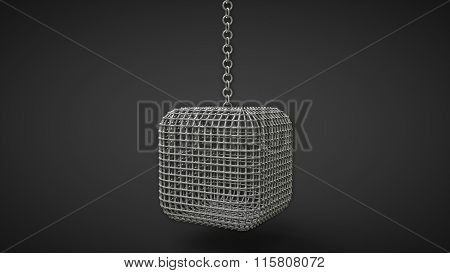 Cage Box Hanging On A Chain