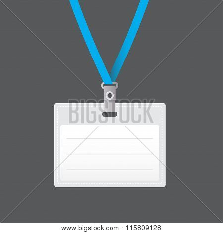 Lanyard with Tag Badge Holder or retractor end badge. Business card design. Vector Illustration.