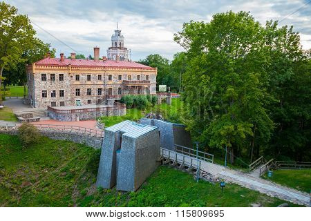 View of new neogothic castle in Sigulda. Latvia