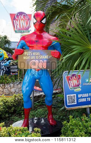 Coco Bongo Club Entrance With Dummy Of Spider Man At Zona Hotelera