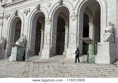 Portuguese Parliament Building, Palacio Da Asembleia Da Republica, With Guards In Lisbon, Portugal