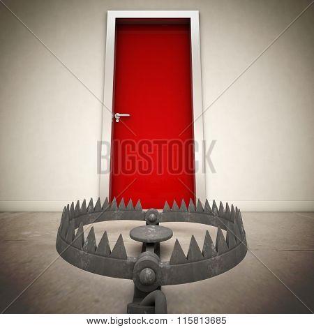 red door and metal bear trap