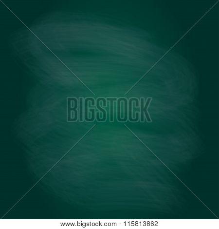 Blackboard texture or background. Chalk rubbed out on green blackboard. Vector blank chalkboard.