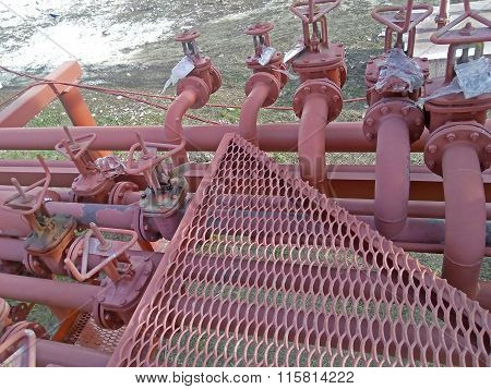 Valves On The Pipeline For Pumping Oil