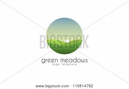 Ecological natural landscape - eco logo template. Sun on the background of green hills - a symbol ec