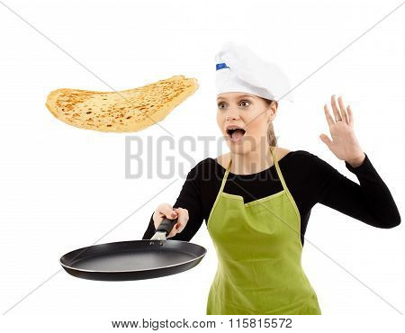 Cook About To Drop A Flipping Pancake