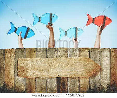 Leader Fish Team Following Togetherness Forward Concept