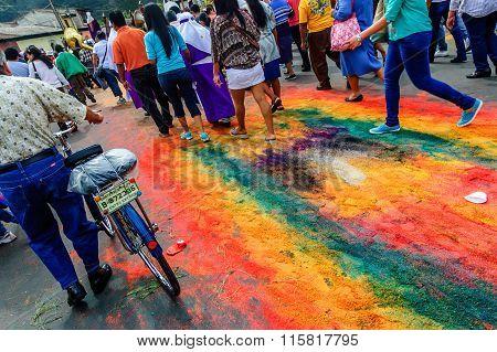 Following Behind Good Friday Procession, Antigua, Guatemala