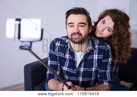 Happy Couple In Love Taking Selfportrait With Cell Phone