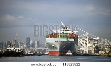 Cargo Ship COSCO AFRICA departing the Port of Oakland