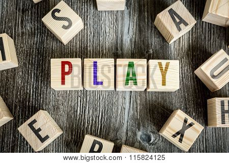 Wooden Blocks with the text: Play