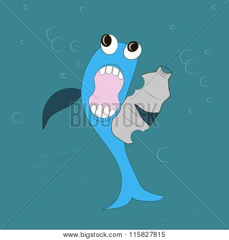 Blue fish with black eyes, dark blue fins, white teeth, pink mouth eats a gray plastic bottle, blu