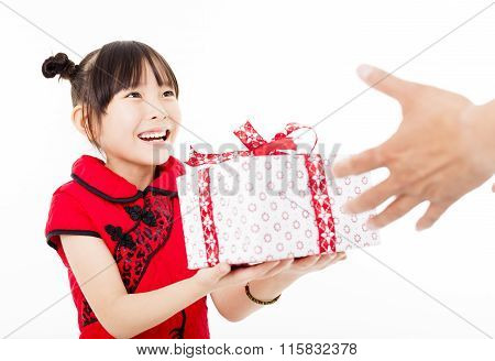 Happy Chinese New Year.little Girl Giving Gift Box