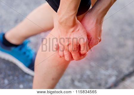 Runner Touching Painful Knee. Athlete Runner Training Accident. Sport Running Knee Sprain.