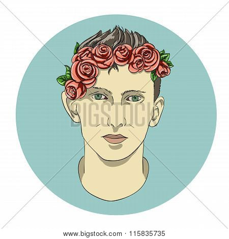 face of the boy in flowers