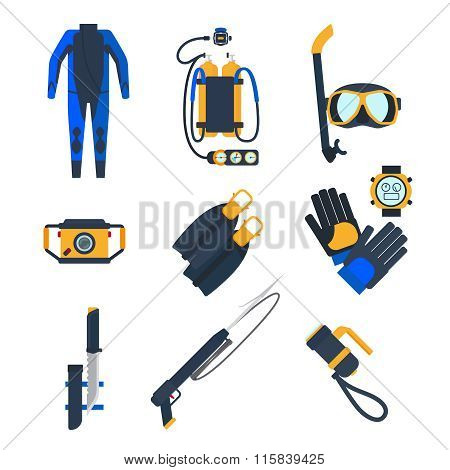 Diving equipment icons in flat style.