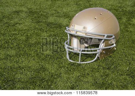 Football Helmet On Artificial Turf