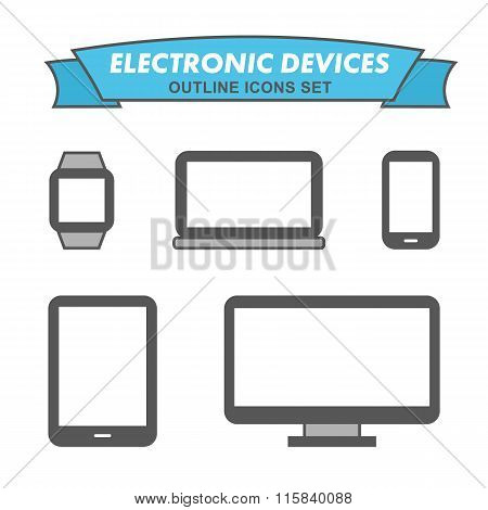 Electronic devices outline icons set. Outlined mobile phone, laptop, smart watch, all-in-one PC, tablet. poster