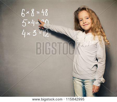 Child about school board. Girl showing blackboard
