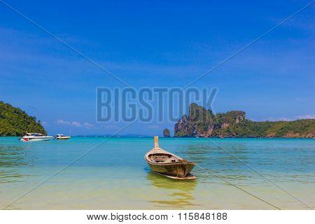 Long boat and tropical beach, Andaman Sea,Phi Phi Islands, Thailand
