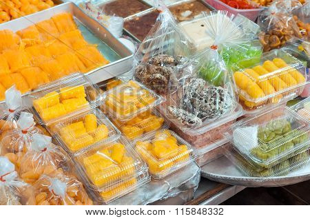 Thai Desserts At A Bangkok Market