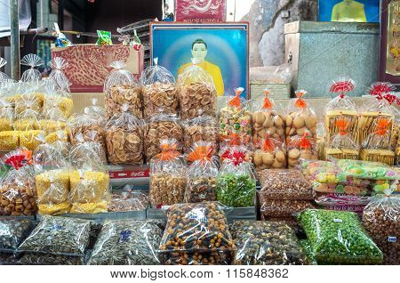 Dried goods on sale at a stall at Sampeng Lane market, Bangkok, Thailand
