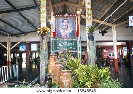 Portrait Of King Rama V At Chiang Mai Railway Station, Northern Thailand.