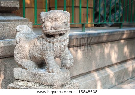 Stone Lion Outside Tin Hau Temple, Yaumatei, Kowloon