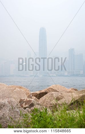 IFC Skyscraper In Hong Kong's Central District Obscured By Air Pollution